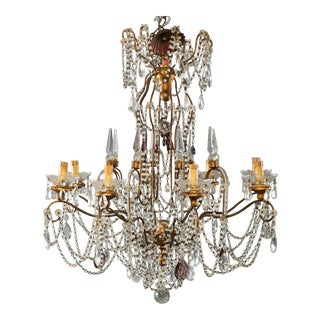 Italian 8-Light Crystal Chandelier With Giltwood Bobeches For Sale