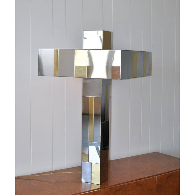 """Paul Evans """"Cityscape"""" table lamp. Patchwork of brass and chrome metal tiles."""