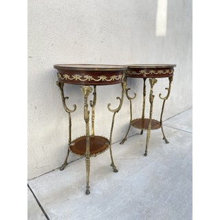 Antique English Brass Rams Head Directoire Gueridon Side Tables - a Pair Preview
