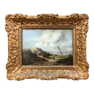 19th Century European Landscape Oil on Board Painting, Framed For Sale