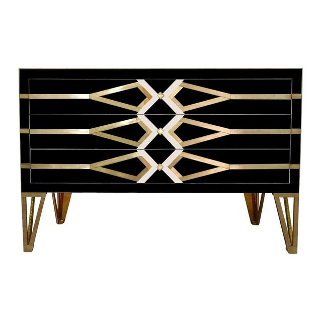 Not Yet Made - Made To Order Contemporary Italian Art Deco Gold Brass Credenza For Sale - Image 5 of 13