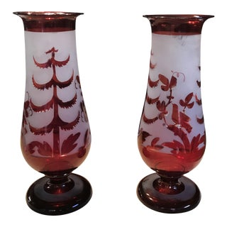 Antique Cranberry Red Hand Blown Glass Vases - A Pair