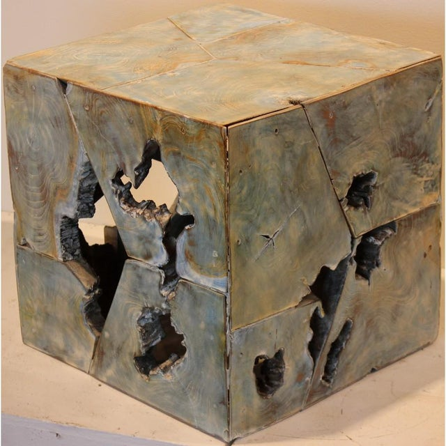 Contemporary Teak Wood Cube Stool For Sale - Image 3 of 3