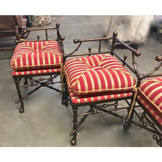 Aesthetic Movement 1980s Vintage Faux Bamboo Iron and Brass Bench For Sale - Image 3 of 9