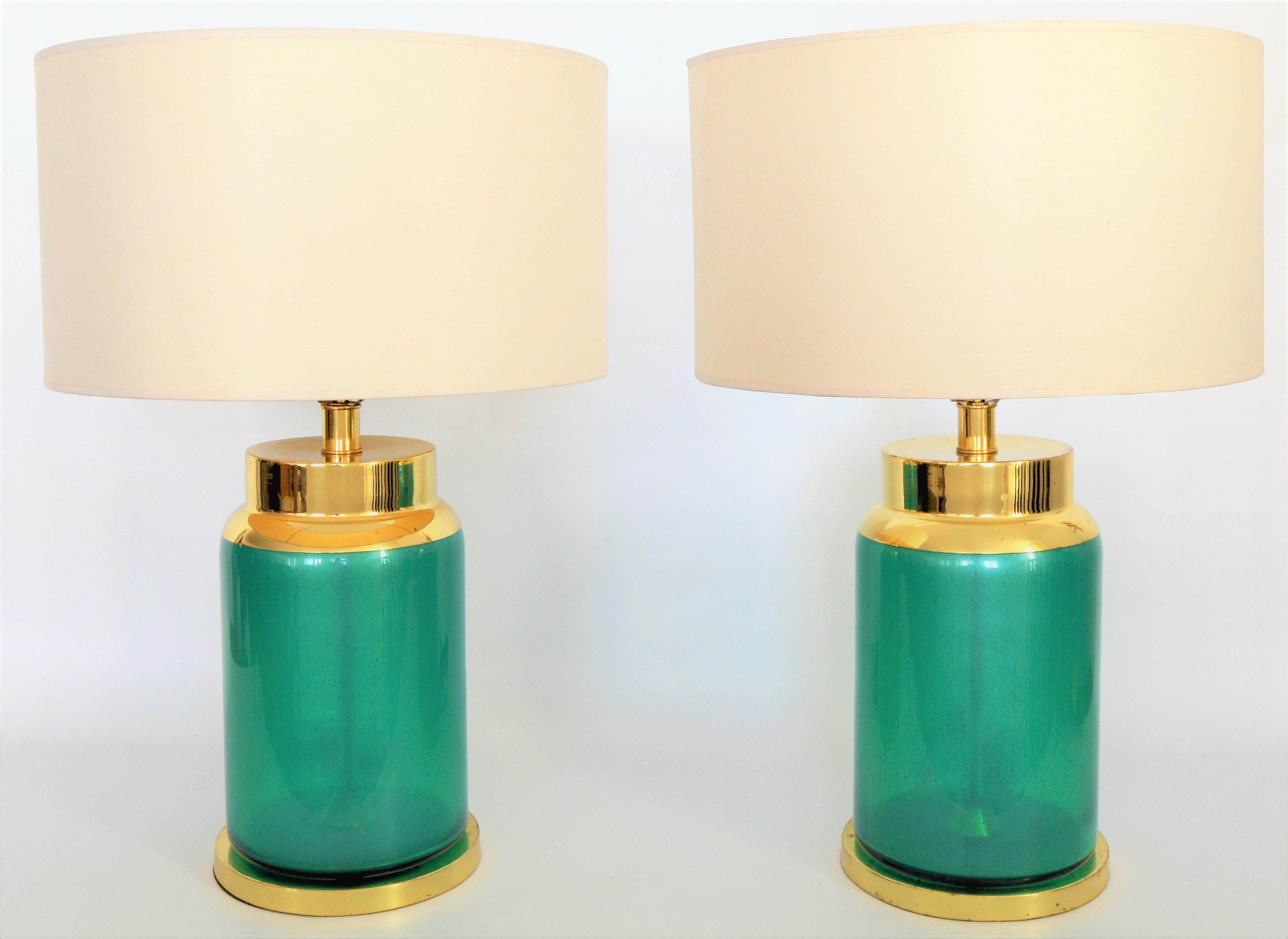 Vintage Murano Reverse Painted Iridescent Blue/Green Glass Table Lamps   A  Pair  Mid