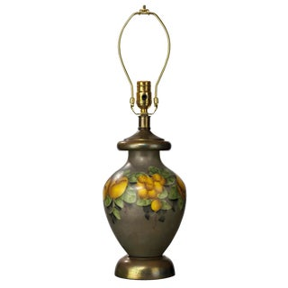 Vintage Mid-Century Ceramic and Brass Urn Table Lamp For Sale