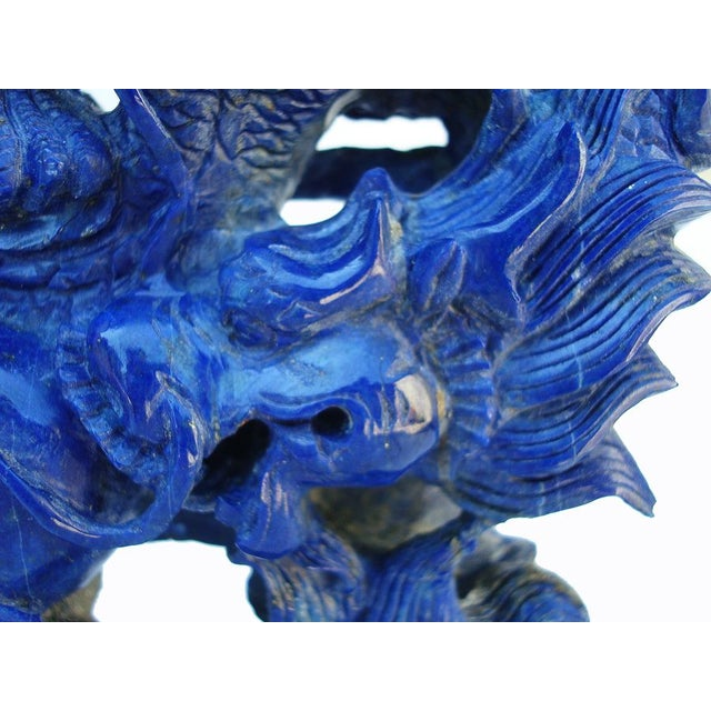 3-D Carved Lapis Asian Dragons Statue - Image 4 of 6