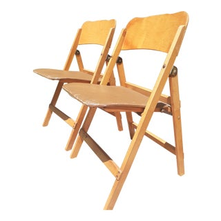 Mid-Century Wooden Folding Chairs - a Pair For Sale
