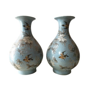 Famille Rose Porcelain Vases - a Pair For Sale