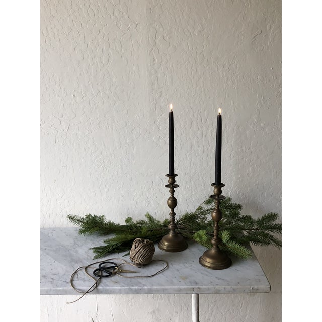 Vintage Brass Candlesticks - a Pair - Image 2 of 6