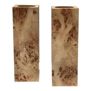 Pair of Square Pillar Burl Wood Candleholders For Sale