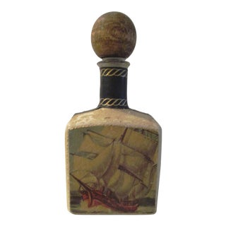 1970s Italian Leather Wrapped Liquor Decanter For Sale