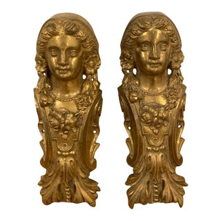 Napoleon III Gilt Bronze Female Medallion Furniture Mounts - a Pair For Sale