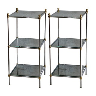 1960s Hollywood Regency 3-Tier Mirror Side Tables - a Pair For Sale