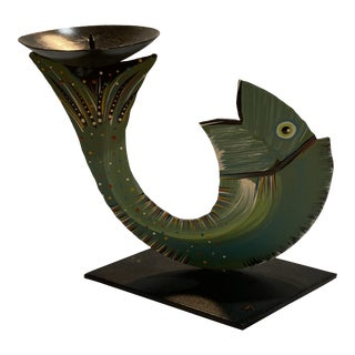 Robert Shields Folk Art Metal Fish Candle Holder For Sale