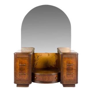 1930's Art Deco Waterfall Style 5-Drawer Dresser and Vanity