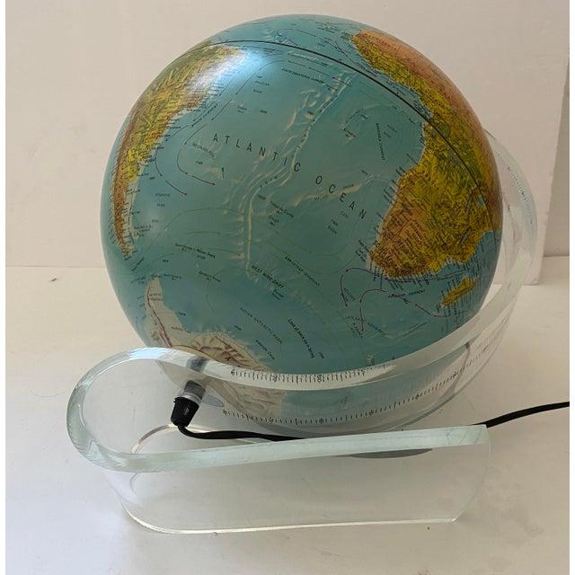 Lucite Holder and Vintage 1987 Illuminated World Globe For Sale - Image 9 of 11