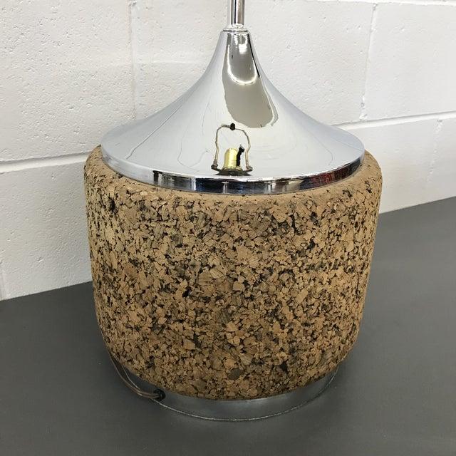 Mid-Century Modern Mid-Century Modern Cork & Chrome Lamp For Sale - Image 3 of 11