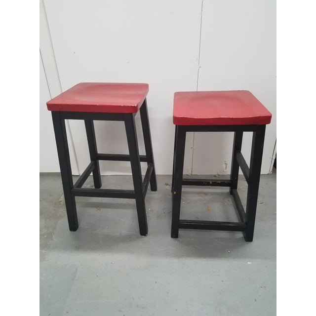 Two Vintage English Wooden Stools With Red Tops For Sale - Image 13 of 13