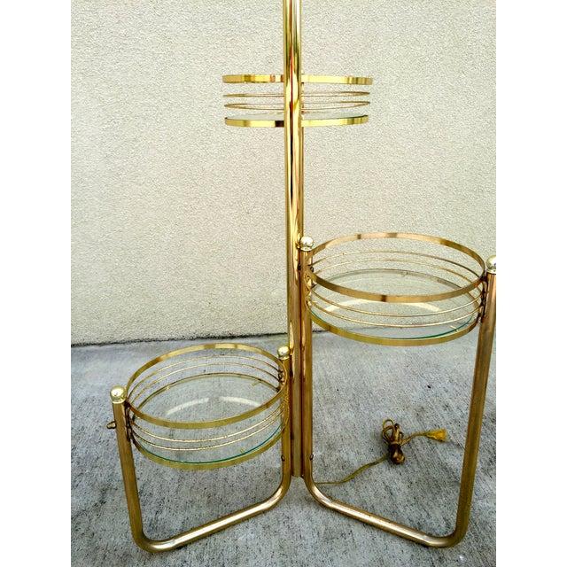Mid-Century 3-Shelf Brass Floor Lamp - Image 6 of 9