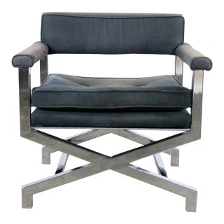 Chrome X Base Director Style Lounge Chair Attributed to Milo Baughman For Sale