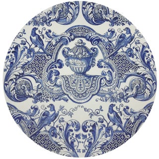 "Nicolette Mayer Royal Delft William and Mary Blue 16"" Round Pebble Placemats, Set of 4 For Sale"