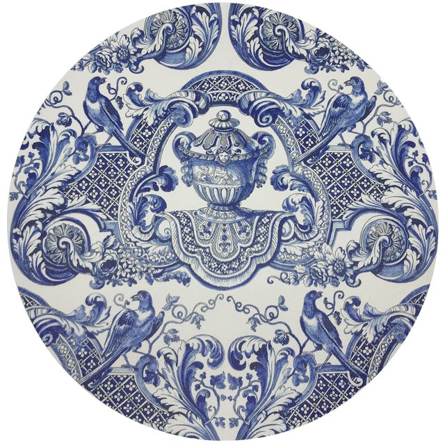 """Nicolette Mayer Royal Delft William and Mary Blue 16"""" Round Pebble Placemats, Set of 4 For Sale"""