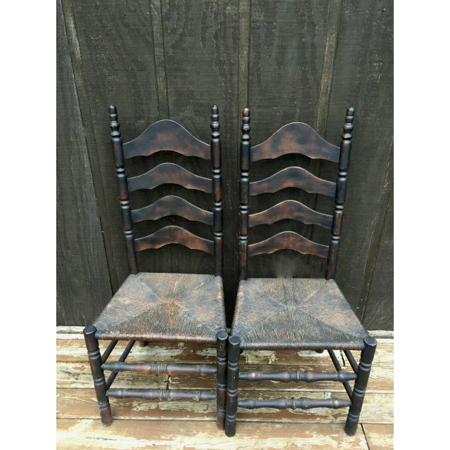 French Farmhouse Ladderback Chairs - Set of 4 For Sale - Image 6 of 11