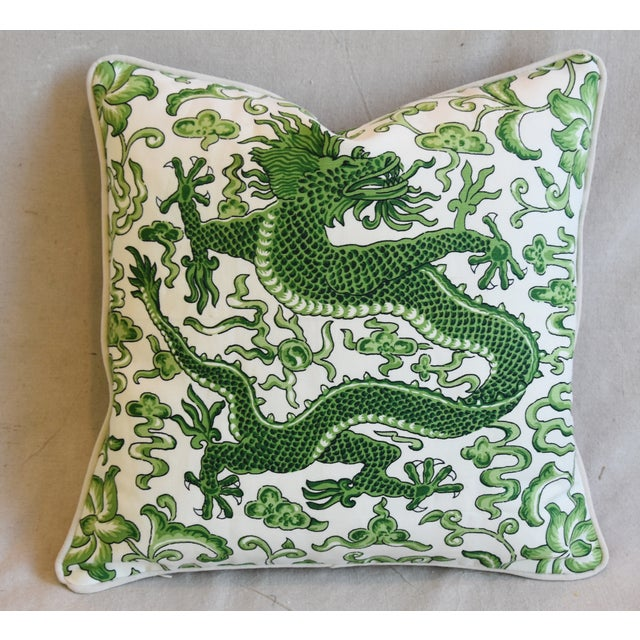 "Green Italian Chinoiserie Scalamandre Dragon Feather/Down Pillow 19"" Square For Sale - Image 8 of 8"