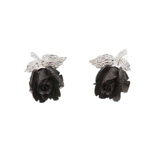 Early 1960s Boucher Rhodium Plated Ebony & Rhinestone Rose Earrings For Sale