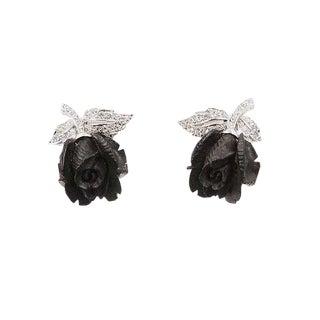Early 1960s Boucher Rhodium Plated Ebony & Rhinestone Rose Earrings For Sale
