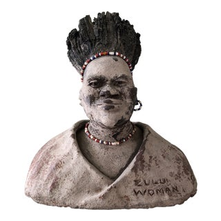 Antique Zulu Woman African Bust 1933 For Sale