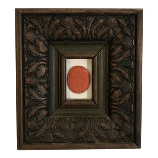 19th Century Antique Grand Tour Carved Framed Intaglio Wax Seal For Sale