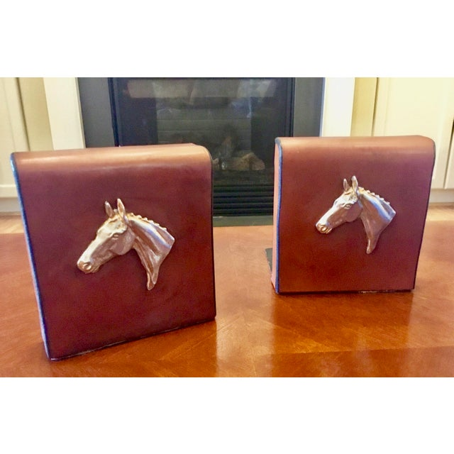 English Traditional English Equestrian Saddle Leather Bookends - a Pair For Sale - Image 3 of 12