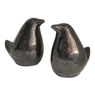 Gunmetal Ceramic Reactive Glaze Lovebirds - a Pair For Sale