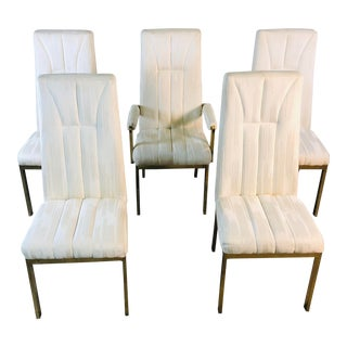 1980s Chrome Craft High-Back Dining Room Chairs, Set of 5 For Sale