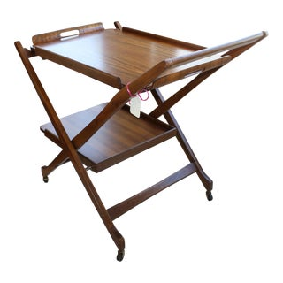1960's Mid-Century Modern Walnut Serving Tray Table For Sale
