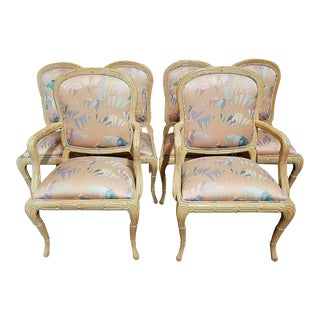 Harris Marcus Country French Provincial Trumpet Lily Upholstered Dining Chairs - Set of 6 For Sale