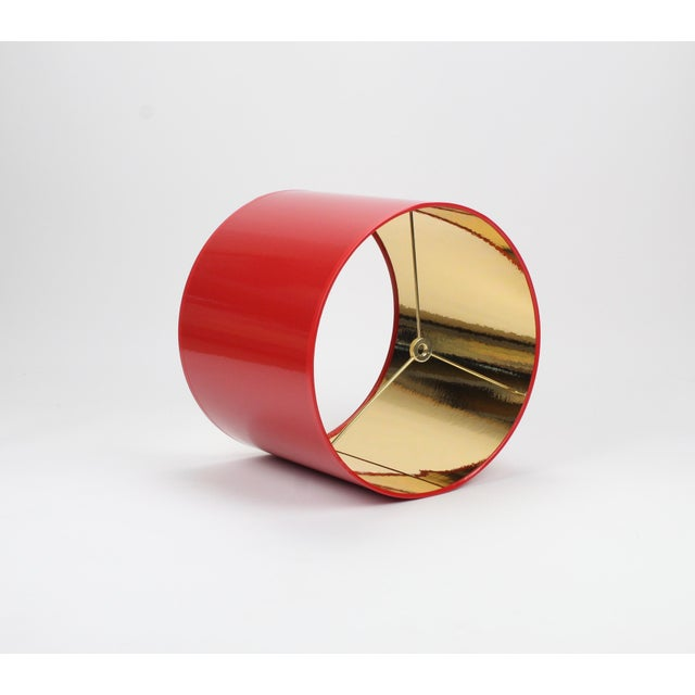 Mid-Century Modern Small High Gloss Red Drum Lamp Shade With Gold Lining For Sale - Image 3 of 6