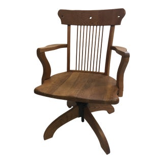 Vintage Craftsman Swivel Wood Office Chair For Sale