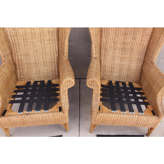 1970s Vintage Henry Link Woven Wicker Wingback Chairs- A Pair For Sale - Image 9 of 13