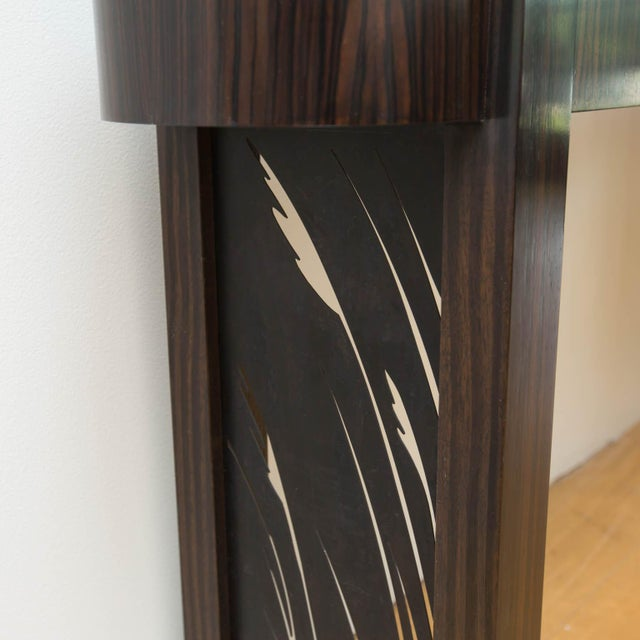 Black Macassar Ebony and Patinated Steel Console Table by Gregory Clark For Sale - Image 8 of 8