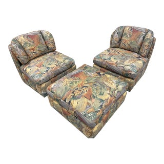 Palm Beach Style Chairs and Ottoman For Sale