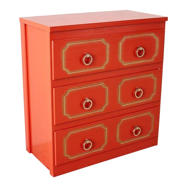 Dorothy Draper Style Coral Red Commode or Chest For Sale