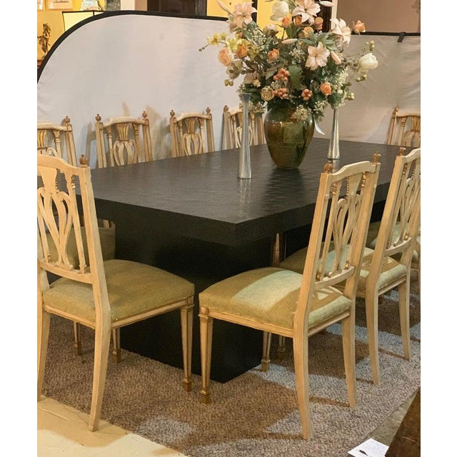 Hollywood Regency Style Ebonized Oak Dining Table and Two Leaves For Sale - Image 11 of 13