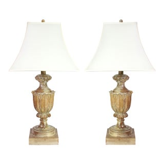 Gustavian Hand-Carved Solid Wood White Washed Oak Lamp Pair Shades Included. For Sale