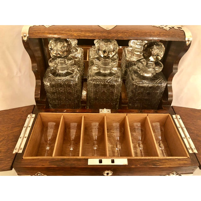 Antique English Golden Oak Games Box Tantalus, Circa 1880. For Sale - Image 4 of 6