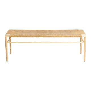 "Ash and Natural Rush 44"" Bench by Smilow Design For Sale"