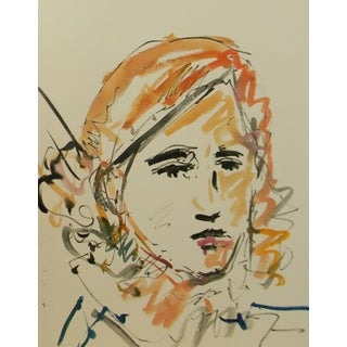 Jose Trujillo Young Girl Portrait Face Original Watercolor Painting For Sale