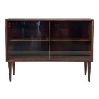 Vintage Danish Rosewood + Glass Cabinet For Sale